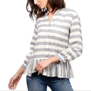 Lucky Brand Top Blue Striped Peplum Long Sleeve